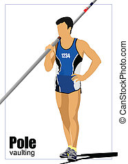 Athlete pole vaulting. Track and f