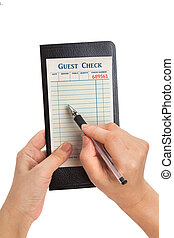 Taking orders - Guest Check, concept of restaurant taking...