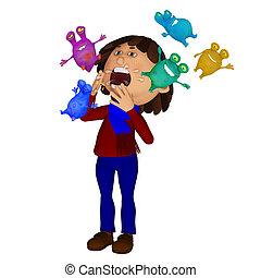 espirrando, criança, doente, micróbios