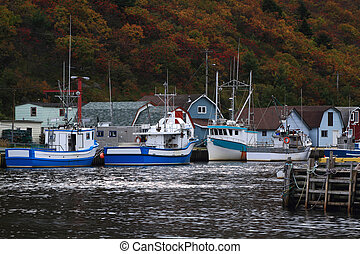 Petty Harbor Newfoundland - Fishing Boats moored to the dock...