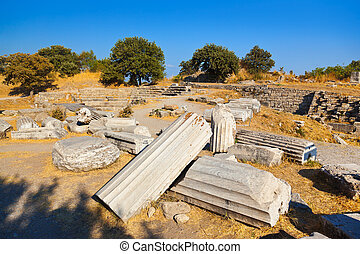 Ancient ruins in Troy Turkey - travel background