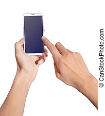 Hand iphone 5 - Man hand holding smart phone like iphones,...