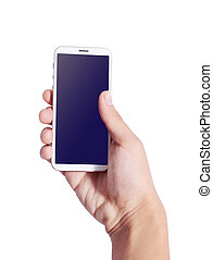 Hand iphone 5 - Man hand holding smart phone like iphones ,...