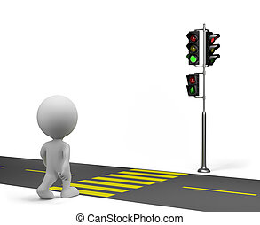 Crosswalk - 3d person crossing the road on the green traffic...