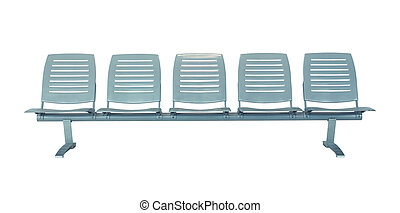 Row of chair isolated on white