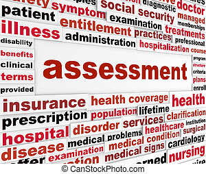 Assessment medical words concept Health care issue creative...