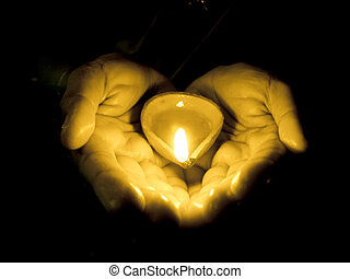 Diya in Human Hands