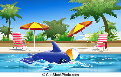 Summer Holiday - Illustration of toy whale and ball floating...