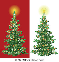 Christmas tree with decorations - Christmas holiday fir tree...