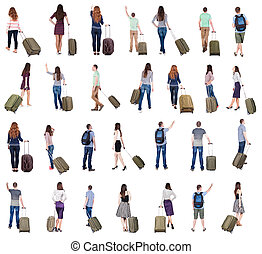 """collection """" Back view of people with suitcase """". backside..."""