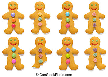 Gingerbread men odd one out - Smiling gingerbread men with...