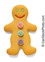Gingerbread man isolated on white - Gingerbread man with gum...