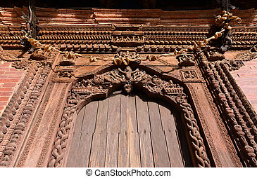Carved wooden details on a temple