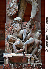 Erotic carving on a temple in Patan - Erotic carving on a...
