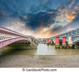 London. Blackfriars Bridge view from River Thames.