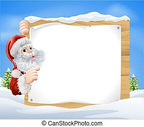 Snow scene Christmas Santa Sign - An illustration of a snow...