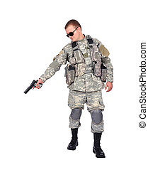us soldier with gun on white background
