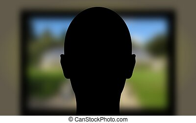 Viewing TV - Illustration of a person watching a television