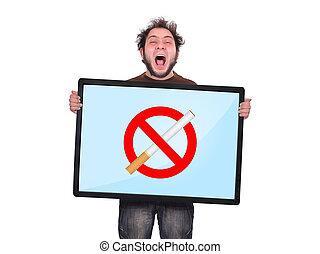 no smoking concept - crazy man holding plasma panel with no...