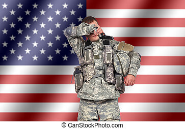 weary us soldier on american flag background