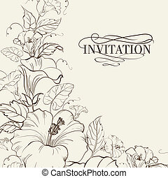 Nature card with blooming hibiscus. Vector illustration.