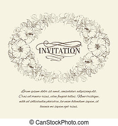Invitation card with blooming hibiscus. Vector illustration.