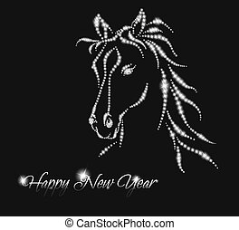 Horse. Happy new year 2014. Vector eps 10