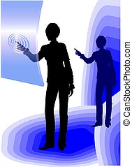 Business woman using touch screen - An icon about learning...