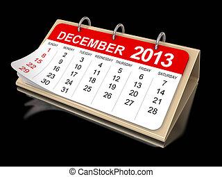 calendario, -, diciembre, 2013