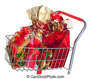 Shopping cart with Christmas gifts and presents isolated...