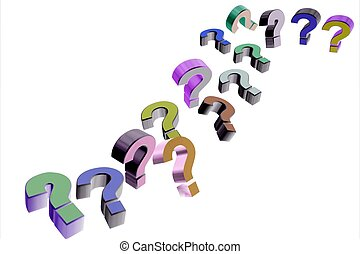 colorful question mark icons on white background