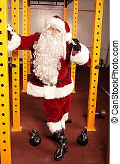 santa, Claus, kettlebells, treinamento