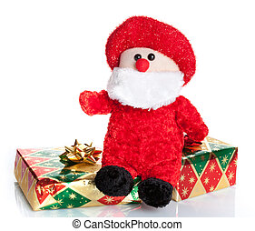 Colorful gift boxes with Santa Claus puppet isolated on...