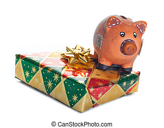 Colorful gift boxes with piggy bank - Cncept of saving money...