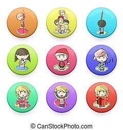 kids printed on button web.  Vector deign