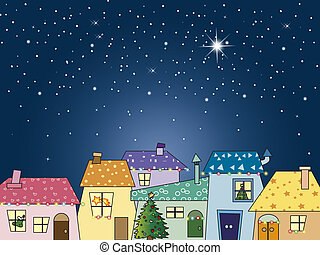 christmas night with stars and city