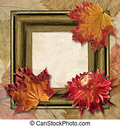 Frame with dahlia and autumn leaf - Beautiful background...