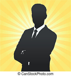 Silhouette of business man with his arms crossed. Vector...