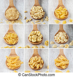 Mixed pasta collage
