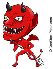 Red Devil - Cartoon illustration of a red devil