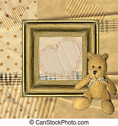 Vintage frame and Teddy bear - Retro background with frame...