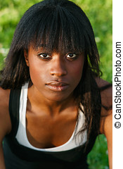 portrait of a nice and young black girl