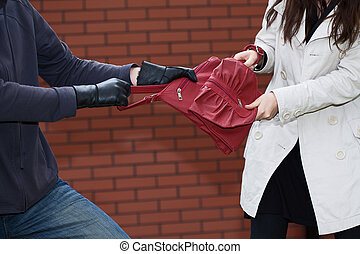 Stealing bag - Pickpocket is trying to steal a girls handbag...