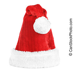Santa Claus red hat isolated on white. New year 2014.