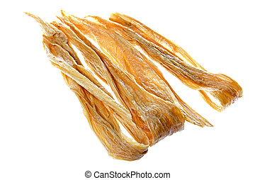 Dried Soya Bean Curd Strips - Isolated image of soya bean...