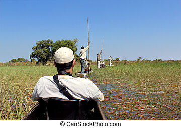 Ride in a traditional Okavango Delta mokoro canoe, through...
