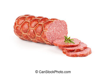 Salami on a white background