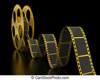 Gold Film Strip on black - 3D Render of Motion Picture Film