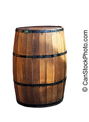Barrel - Wooden barrel for beverage isolated with clipping...