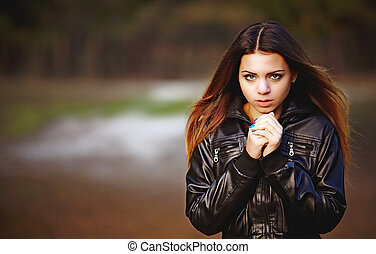 Girl with a flower - Beautiful girl in the autumn forest...